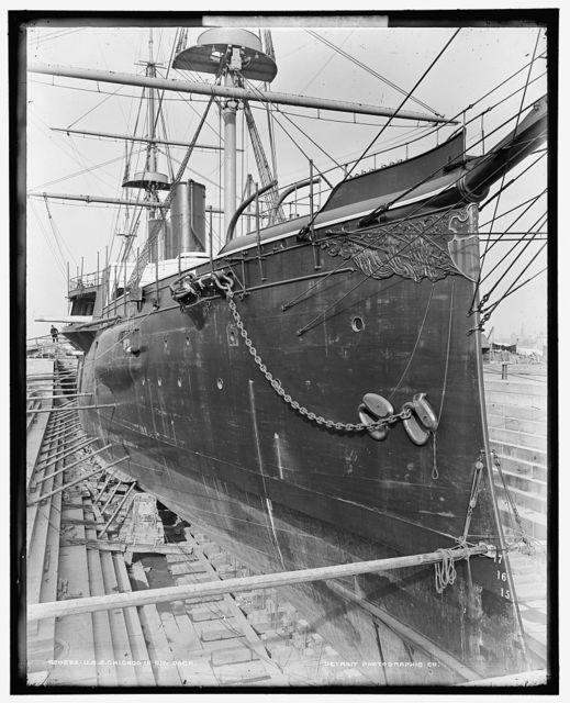 U.S.S. Chicago in dry dock