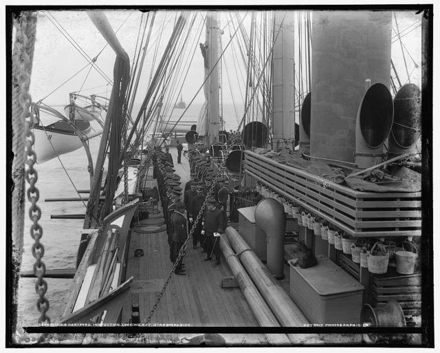 U.S.S. Hartford, inspection, looking aft., starboard side