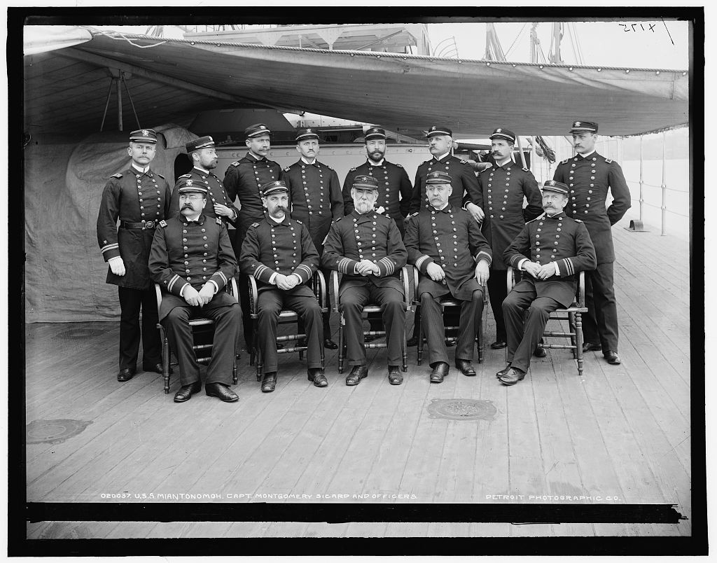 U.S.S. Miantonomoh, Capt. Montgomery Sicard and officers