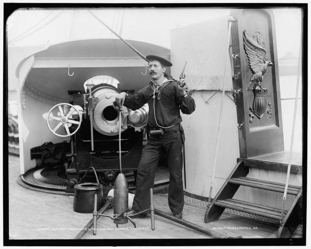 U.S.S. San Francisco, 6-inch gun and gunner Frenchy