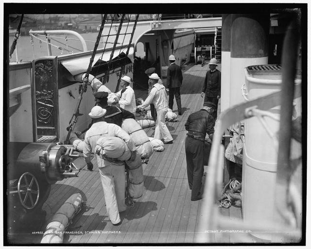 U.S.S. San Francisco, stowing hammocks