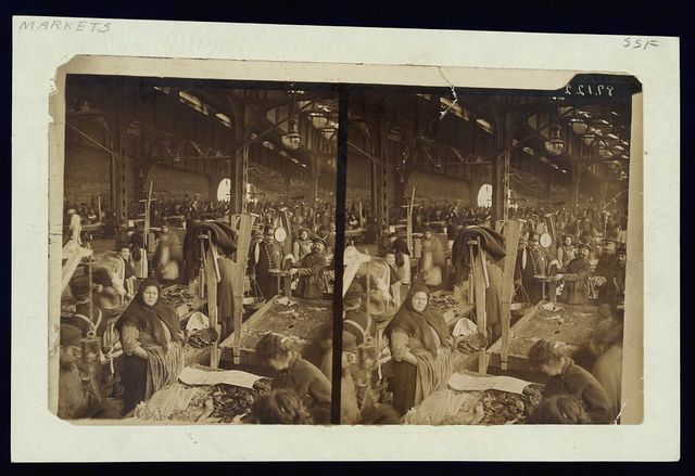 [Vendors selling fish at a market in New York City, possibly the Fulton Fish Market]