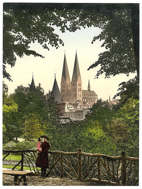 [View from wall towards Mary's Church, Lubeck, Germany]