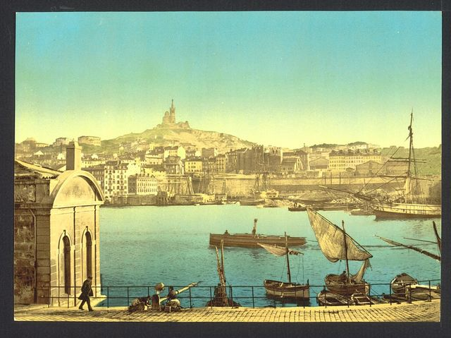 [View of Notre Dame de la Garde and harbor, Marseilles, France]