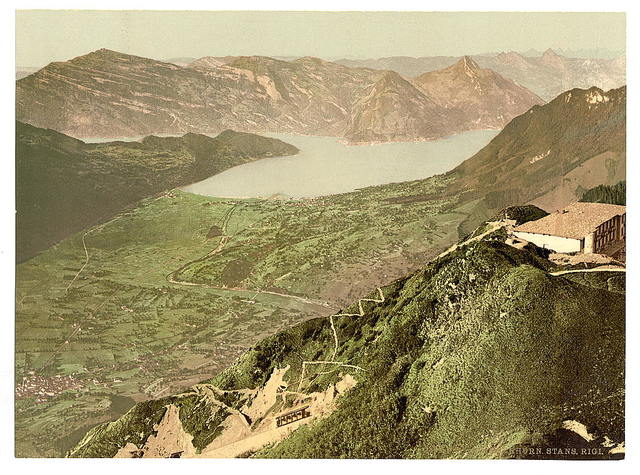 [View of Stans, Lake of the Four Cantons and Rigi, Stanserhorn, Switzerland]
