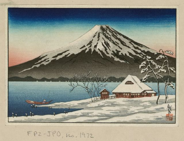 [Winter landscape with small snow-covered building on the coast and view of Mount Fuji]