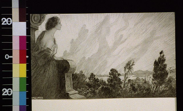 [Woman leaning on stone pedestal looking at shadows in the sky]