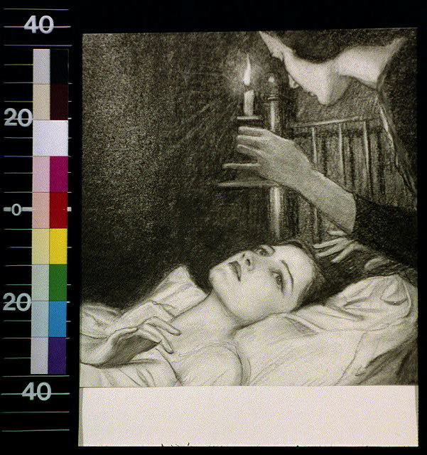 [Woman with candle looking down at girl in bed]