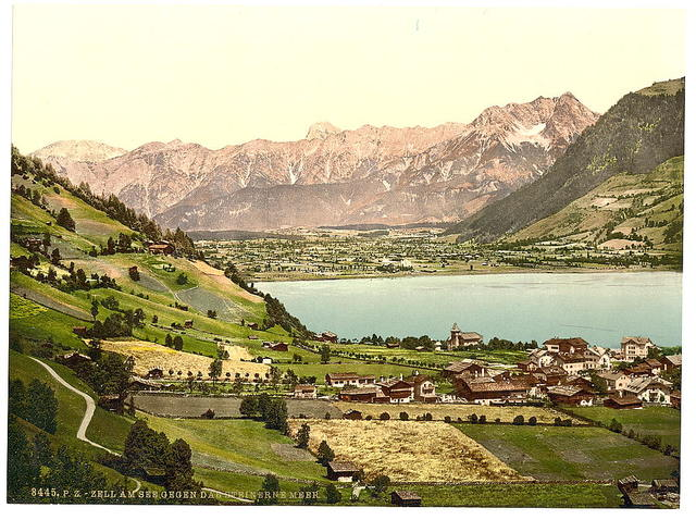 [Zell on the lake (i.e., Zell am See) from the Steinernes Meer, Austria, Austro-Hungary]