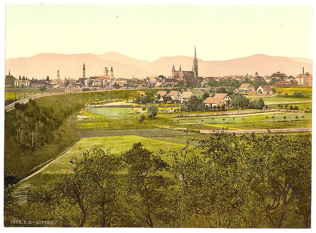 [Zittau with mountains, seen from Eckartsberg, Saxony, Germany]
