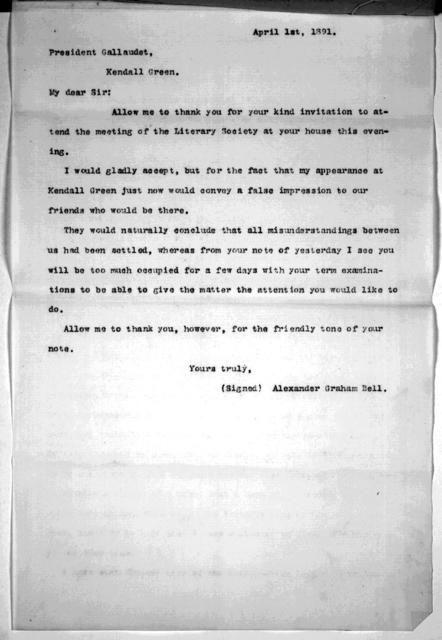 Article and letters, from March 18, 1891 to April 8, 1891
