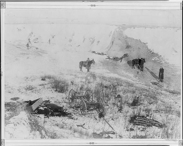 Birds-eye view of canyon at Wounded Knee, S.D.