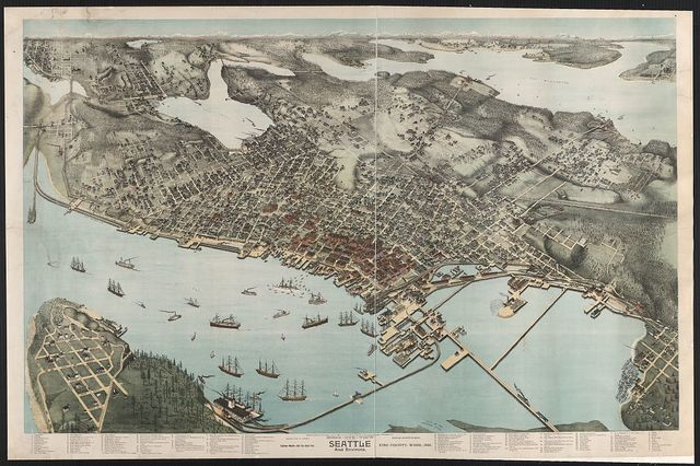Birds' eye view of Seattle and environs, King County Wash., 1891, eighteen months after the great fire / drawn by Augustus Koch.