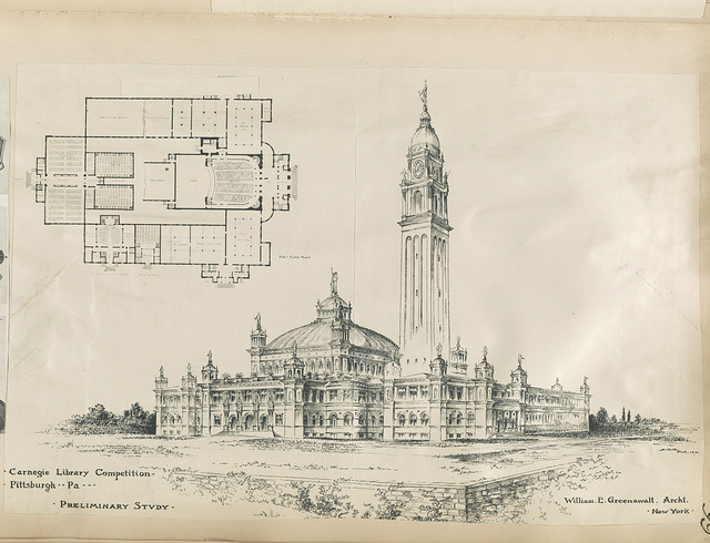 Carnegie library competition, Pittsburgh, Pa. Preliminary study / / William E. Greenawalt, archt., New York.