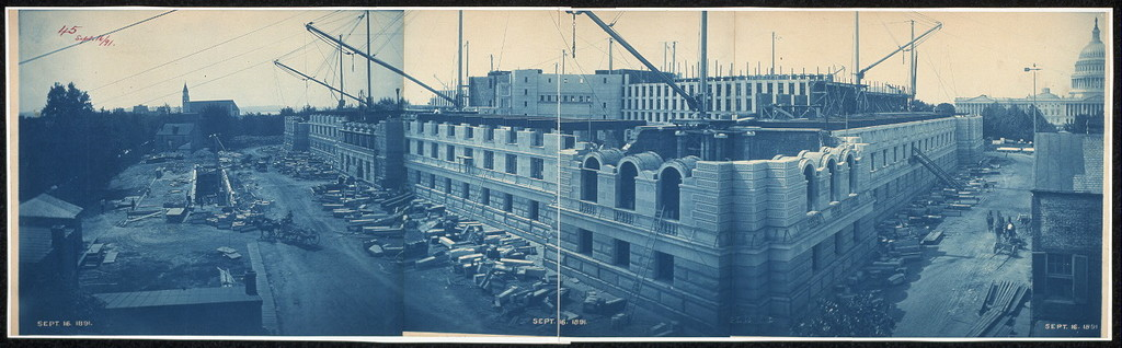 Construction of the Library of Congress, Washington, D.C., Sept. 16, 1891
