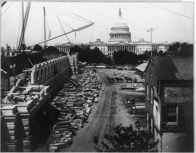 Construction of the Northwest Court of the Jefferson Building of the Library of Congress