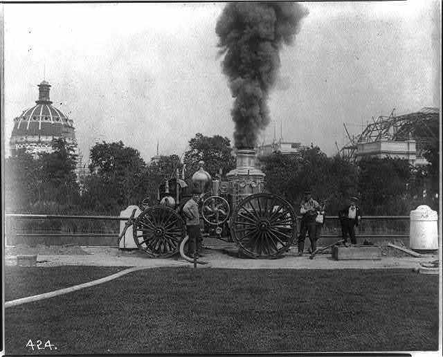 Fire engine at World's Columbian Exposition grounds while buildings were under construction