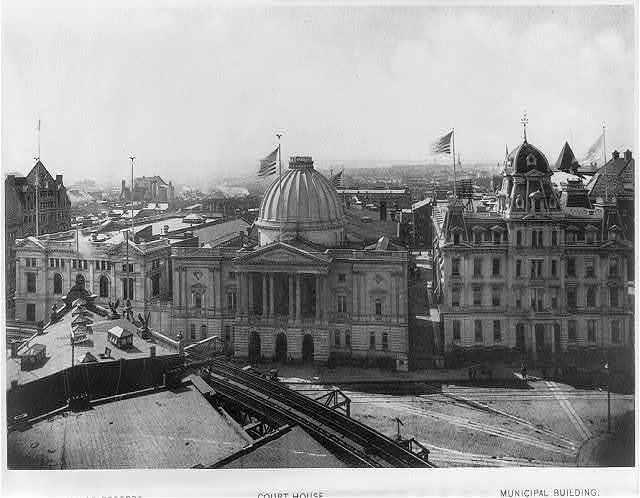 [Kings County] Court House, [Brooklyn, N.Y.; entrance front, flanked by Municipal Building (right) and Hall of Records]