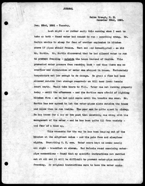 Letter from Alexander Graham Bell, December 22, 1891