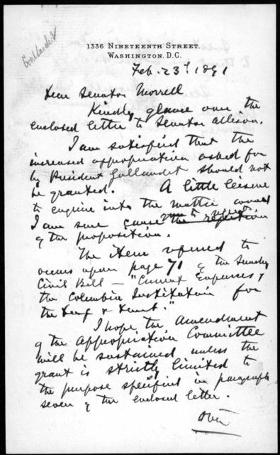Letter from Alexander Graham Bell to Senator Justin Smith Morrill, February 23, 1891