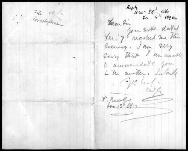 Letter from Richard Rosenthal to Alexander Graham Bell, December 7, 1891