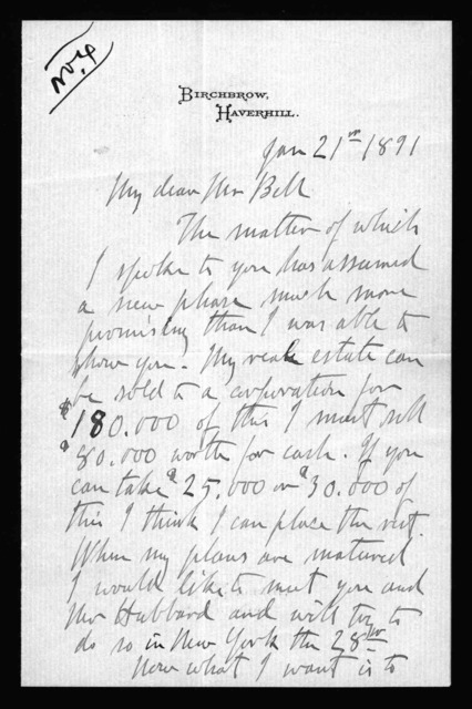 Letter from Thomas Sanders to Alexander Graham Bell, January 21, 1891