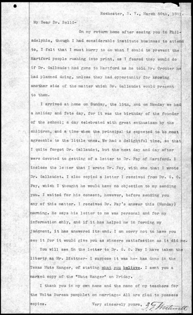 Letter from Z. F. Westervelt to Alexander Graham Bell, March 30, 1891