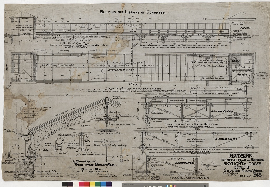 [Library of Congress, Washington, D.C. Ironwork. Boiler room. Skylight. Plan, section, and details]