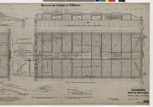 [Library of Congress, Washington, D.C. Ironwork. Roofs of bookstacks. Plans and sections]