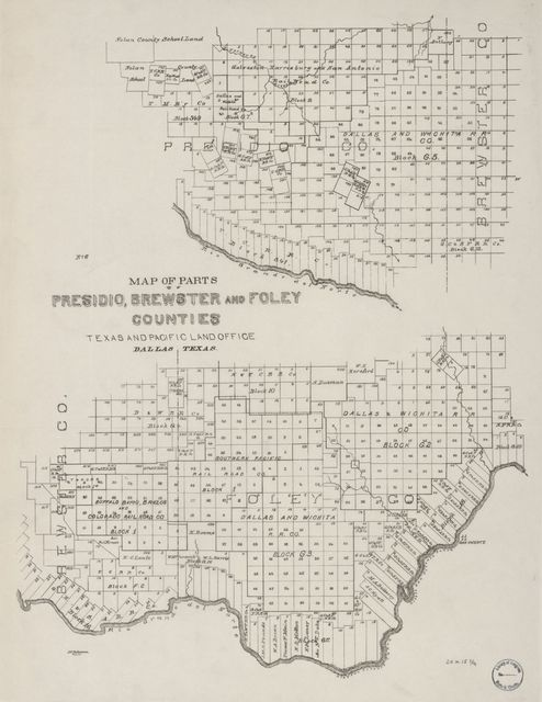 Map of parts of Presidio, Brewster and Foley Counties : Texas and Pacific Land Office, Dallas, Texas /