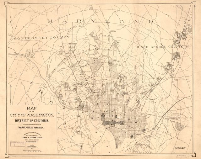 Map of the city of Washington, District of Columbia, and adjacent portions of Maryland and Virginia /