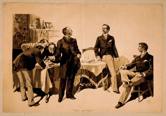 [Men examining ledgers with two men to side, one wearing expression of concern]