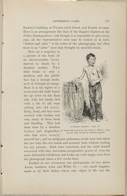 Patrick Kieley - age 11 As found half starved by the Society's officers. Face cut and body bruised by inhuman parents.