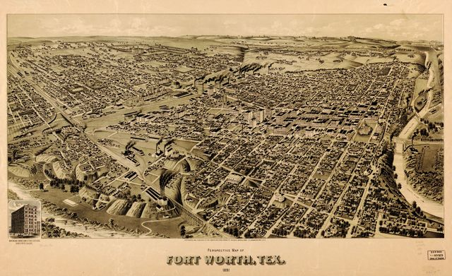 Perspective map of Fort Worth, Tex. 1891.