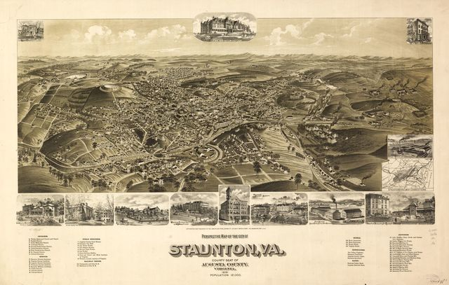 Perspective map of the city of Staunton, Va., county seat of Augusta County, Virginia 1891.