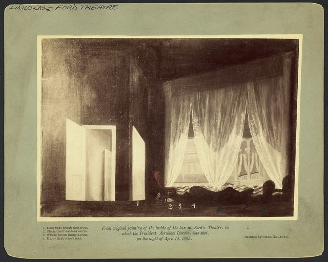[Photograph of a painting of Ford's Theatre interior, showing where President Abraham Lincoln was assassinated] / Painted by Chas. Gulager.