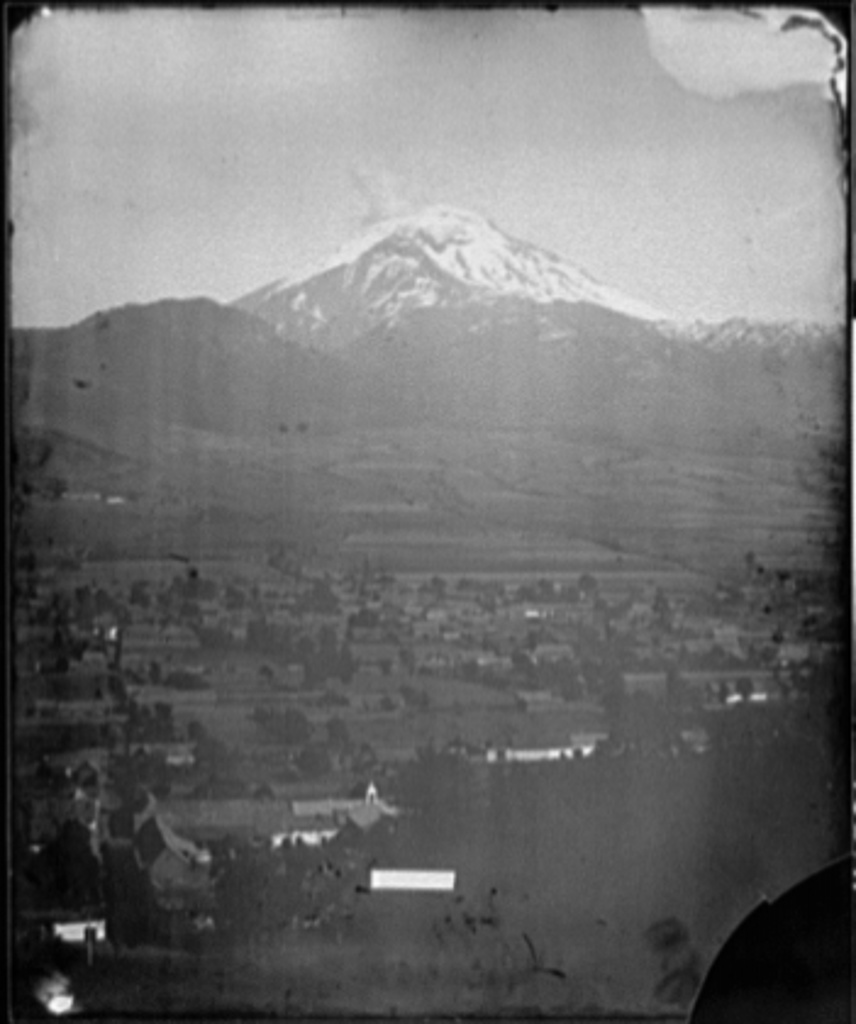 Popocatapetl [i.e. Popocatepetl] and Ixtacchihuatl [i.e. Iztaccihuatl from Amecameca, Mexico