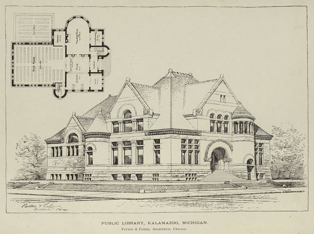 Public library, Kalamazoo, Michigan / Patton & Fisher, Architects, Chicago.