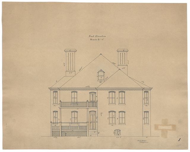 [Saint Elizabeths Hospital, Washington, D.C. Building No. 18 (Burroughs Cottage). Front elevation with dimensions] / H. L. Amer, Draughtsman.