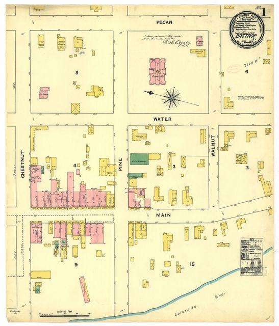 Sanborn Fire Insurance Map from Bastrop, Bastrop County, Texas.