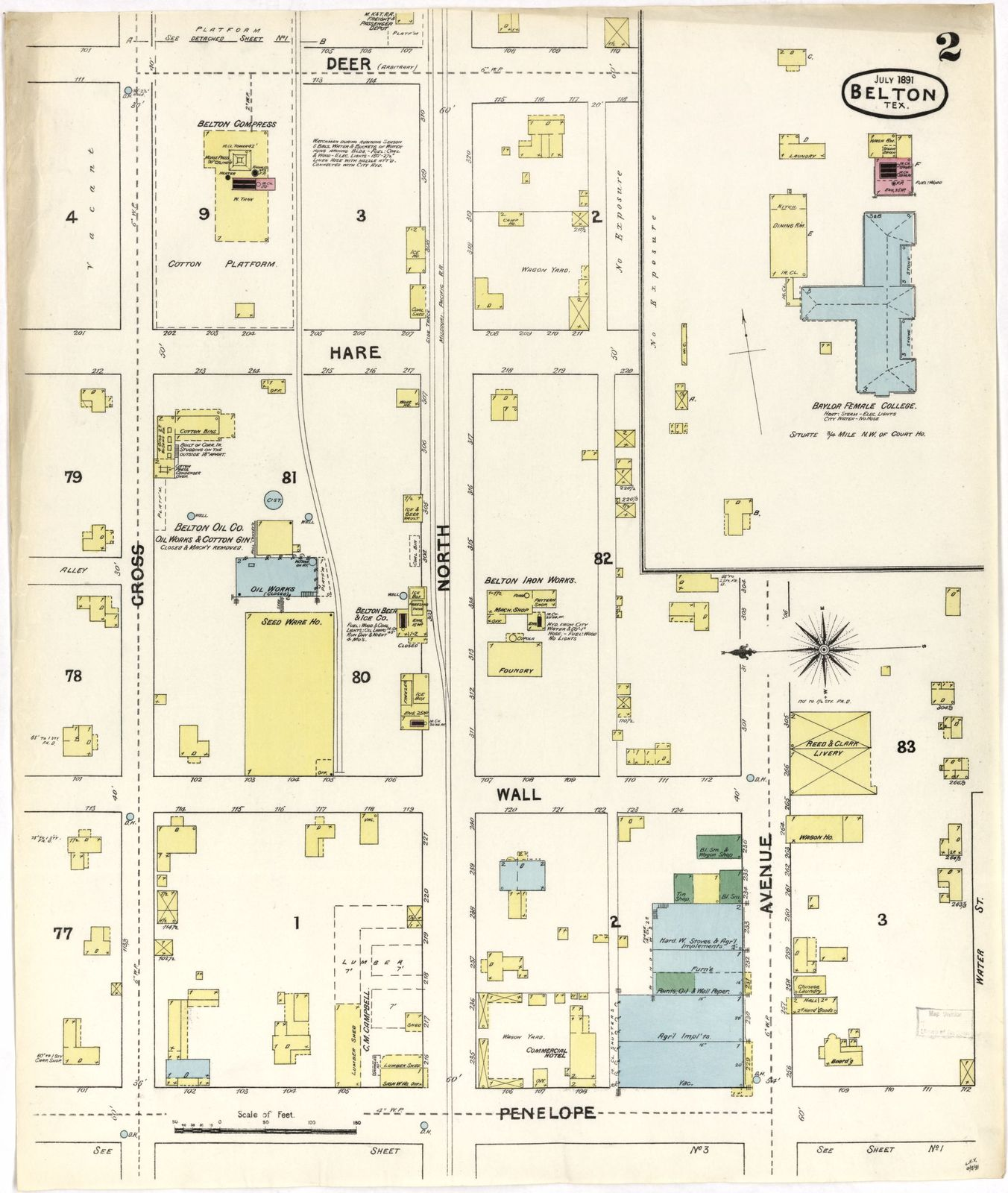 Sanborn Fire Insurance Map from Belton, Bell County, Texas  | PICRYL