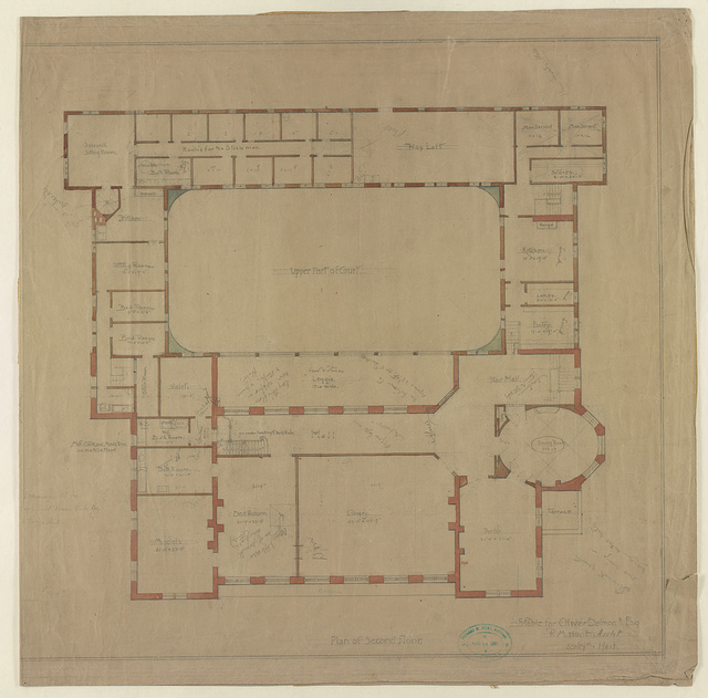 [Stable for Oliver Belmont Esq., Newport, R.I. Plan of second floor]