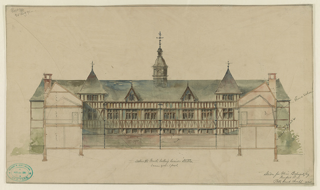 Stable for Oliver Belmont Esq., Newport, R.I. Section thro court, looking towards stable / / R.M. Hunt archt.