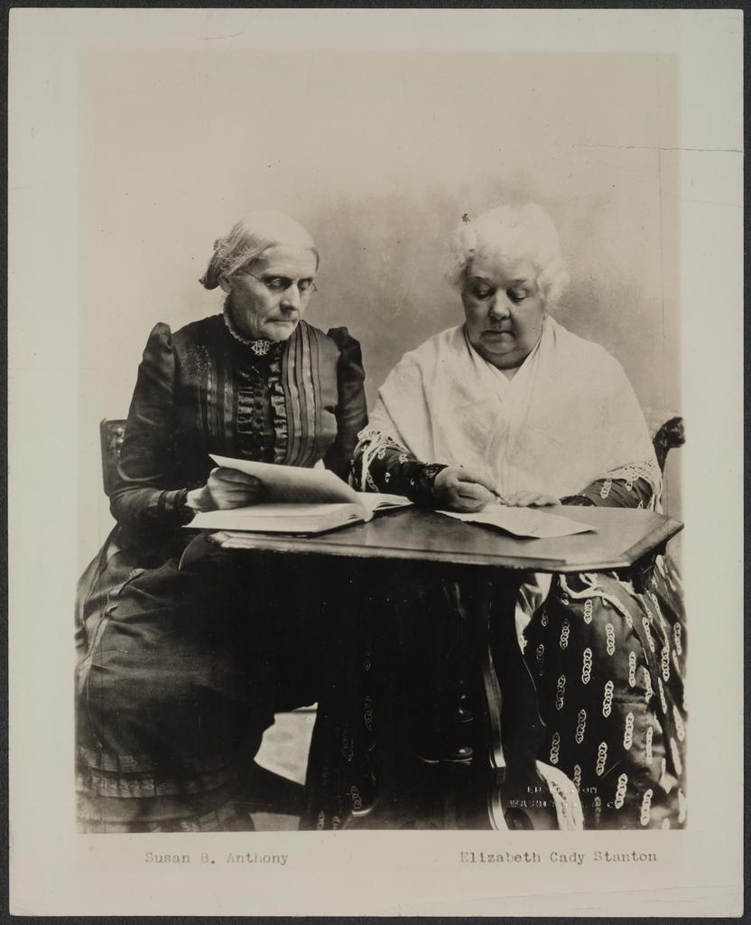 Susan B. Anthony and Elizabeth Cady Stanton. Two great pioneers in the Equal Rights cause. Without them, American women would not have progressed as far as they have in their fight for freedom.