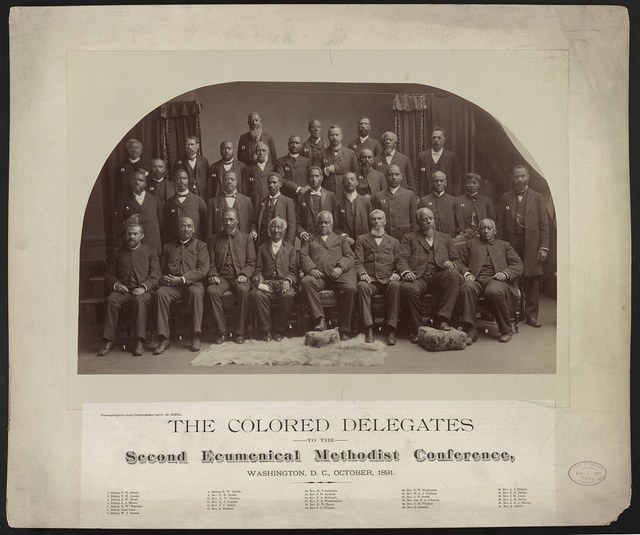 The Colored delegates to the Second Ecumenical Methodist Conference, Washington, D.C., October, 1891 / photographed and copyrighted by C.M. Bell.