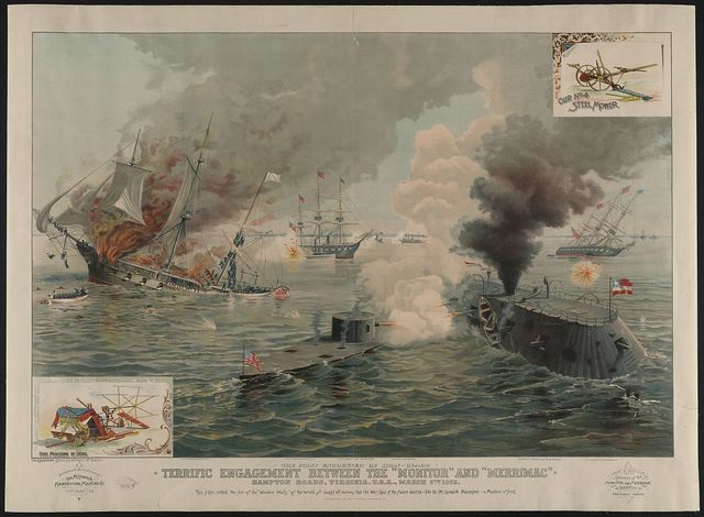 """The first encounter of Iron-Clads. Terrific engagement between the """"Monitor"""" and """"Merrimac"""" ... March 9th 1862"""