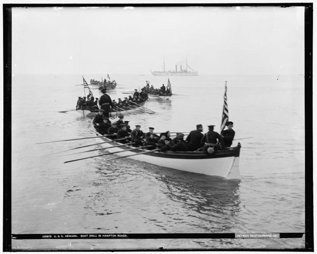 U.S.S. Newark, boat drill in Hampton Roads