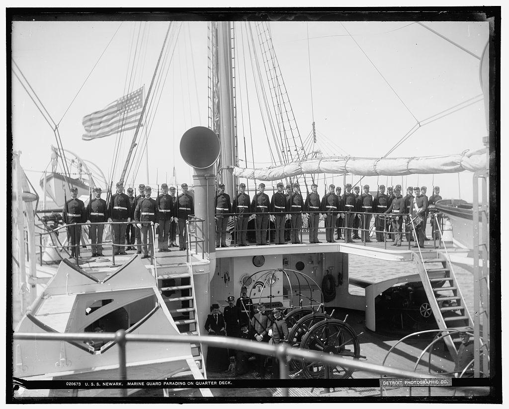 U.S.S. Newark, marine guard parading on quarter deck