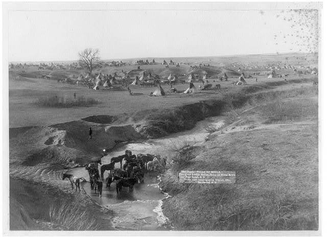 Villa of Brule the great hostile Indian camp on River Brule near Pine Ridge, S.D / / photo. and copyright by Grabill, Deadwood, S.D.