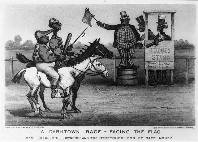 "A darktown race - facing the flag. Match between ""his lowness"" and ""the stretcher"" for de gate money"